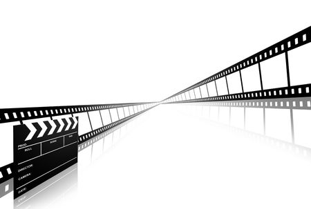 clap board and film strip isolated on white