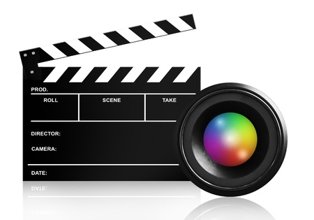 producers: lens & clap board isolated on white