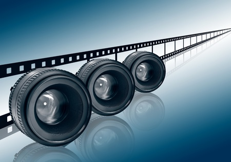 three lens and film strip on blue background photo