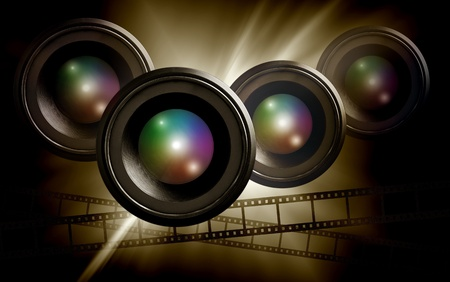 video production: lens and film strip on abstract dark background
