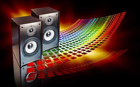 two audio speakers on abstract colored background Stock Photo