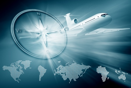 passenger airline: airplane, compass, continent maps on abstract blue background