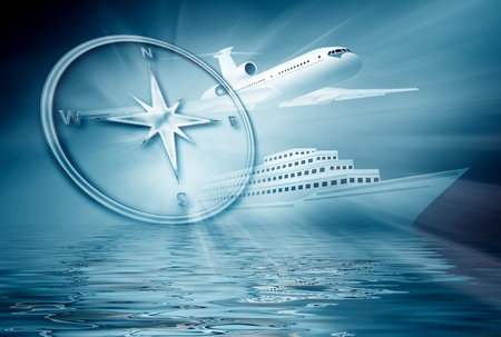 airplane ship compass on abstract blue background