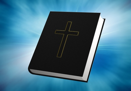 holy book: illustration of bible on abstract blue background