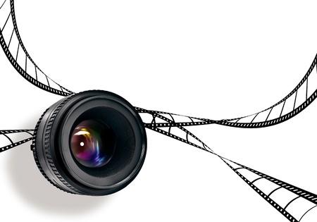 videofilm: fotografischen Linse und Film-Streifen, isoliert auf weiss