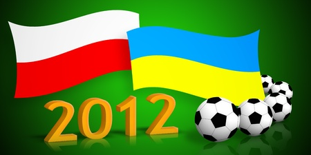 polish & ukrainian flags, soccer balls, 2012 number on green background photo