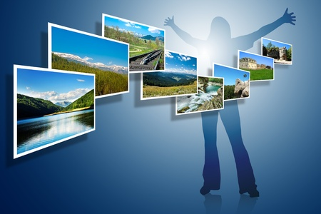 landscape photos on blue background with woman silhouette