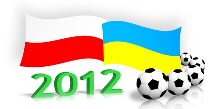 polish & ukrainian flags, soccer balls, 2012 number isolated on white  photo