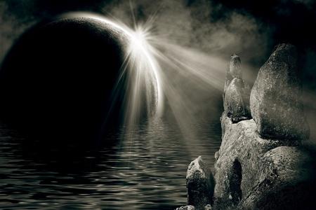 night scene of rock & planet in water