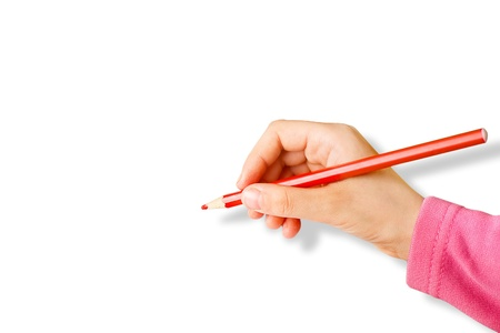 hand hold red pencil isolated on white Stock Photo