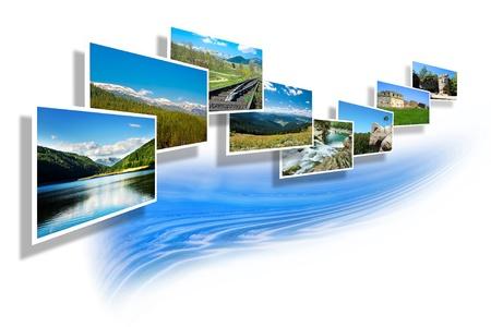 summer landscape photos isolated on white