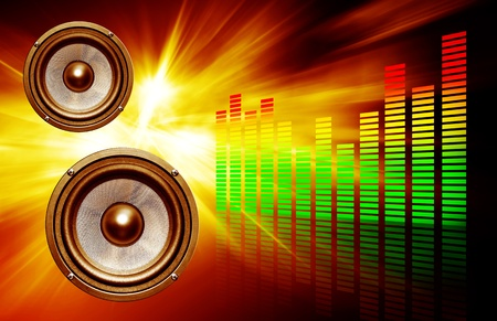 two audio speakers on abstract background with color grid