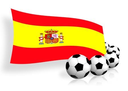worldcup: flag of Spain & soccer balls on white  Stock Photo