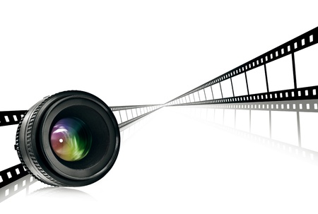 optical equipment: lens and film strip on white background