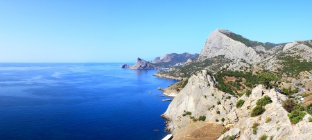 sudak: mountains & sea landscape in Sudak Crimea Ukraine