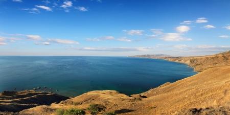 littoral: panorama of summer coastline in crimea ukraine