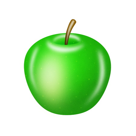green apple isolated: illustration of green apple isolated on white