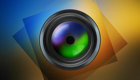 artistic photography: illustration of photographic lens on dark background Stock Photo