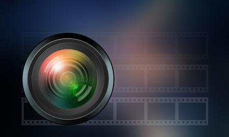 artistic photography: illustration of photographic lens on dark blue  background