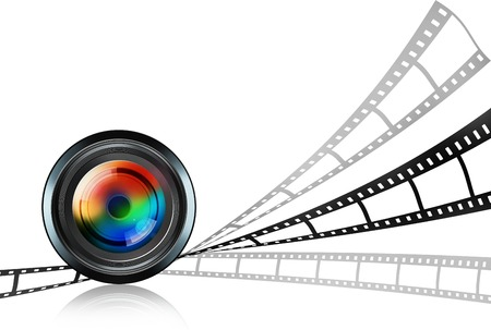 artistic photography: lens and film strip on white background