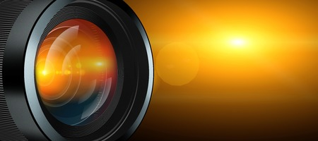 photographic: illustration of photographic lens and yellow light