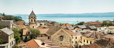 panorama of old town Omis in Croatia Stock Photo