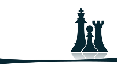 group of chess figures on white background Stock Photo