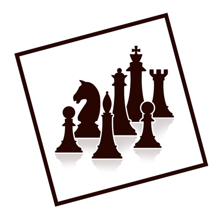 silhouette of chess figures on white background Stock Photo