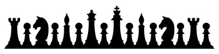 silhouette of chess figures isolated on white Stock Photo