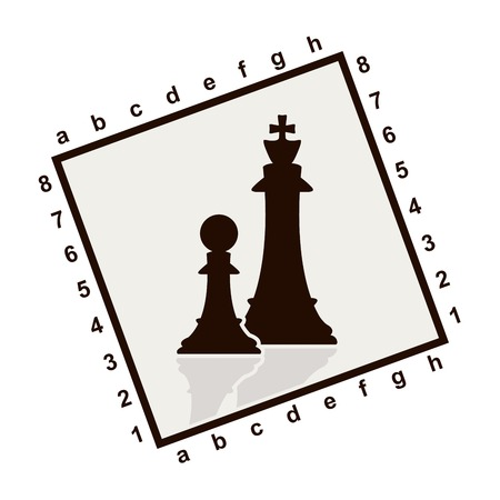 Silhouette of chess figure in square frame