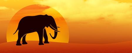 illustration of elephant silhouette in the desert at sunset