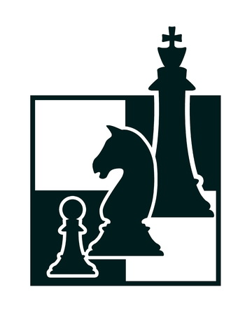 silhouette of three chess figures on chessboard  Stock Photo