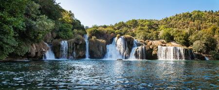 panorama of waterfall on Krka river in Croatia Stock Photo