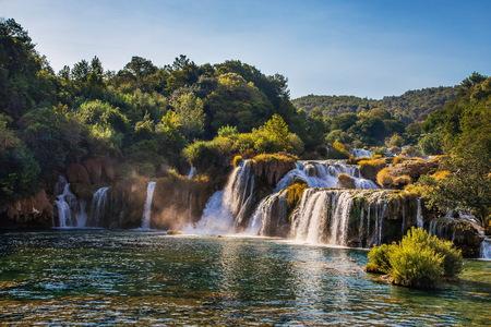 summer viev of waterfall on Krka river in Croatia