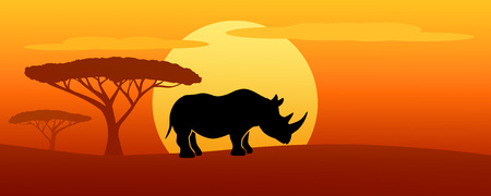 illustration of one rhino silhouette at sunset
