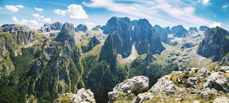Panorama of mountains in a national park in Prokletije, Montenegro Stock Photo