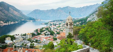 Panorama of old church and  Kotor bay in Montenegro Stock Photo