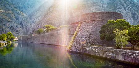 Walls of Kotor old town in Montenegro