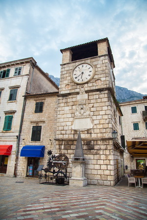 Clock tower in  Kotor old town in Montenegro