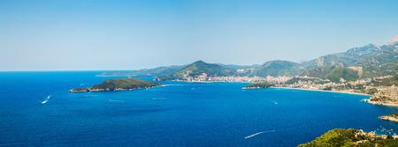 Panorama of Budva riviera in Montenegro in summer Stock Photo
