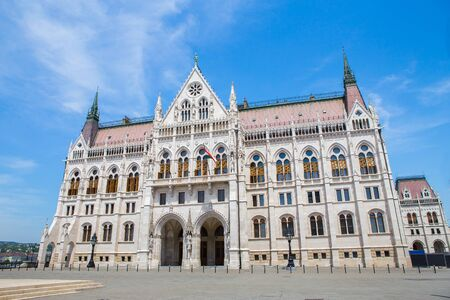 side view of parliament building in Budapest Hungary