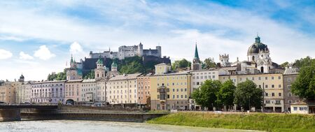panorama of the old town of Salzburg in Austria