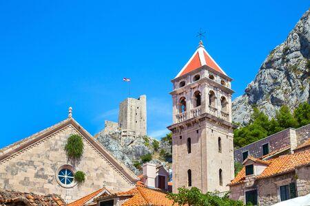towers of old town Omis in Croatia