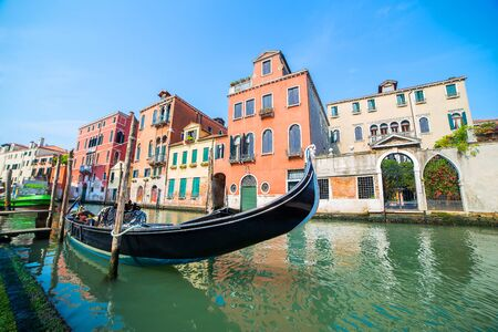 gondona on water channel in Venice Italy