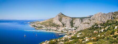 panorama of coastline and mountains in Omis Croatia