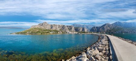 panorama of Omis coastline in Croatia on Adriatic sea