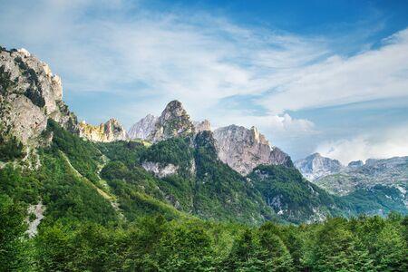 summer viev of Prokletije mountains in Grebaje valley in Montenegro  Standard-Bild