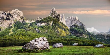 evening view of Prokletije mountains in Grebaje valley in Montenegro