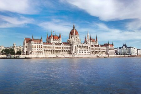 hungarian parliament and Danube river in Budapest Standard-Bild