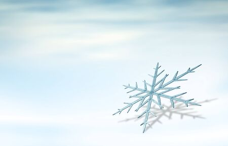 one snowflake on light blue background